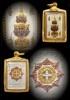 จตุคาม รามเทพ รุ่นมหาเศรษฐี 1,000 ล้าน เหรียญแสตมป์ เนื้อโลหะ ชุบ 3 กษัตริย์