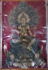 อภิปัญญามหาเศรษฐี พุทธศิลป์ในรูปแบบของ อ.เฉลิมชัย โฆษิตพิพัฒน์ ผ้ายันต์สีแดง ผืนเล็ก ขนาด 18x26 นิ้ว